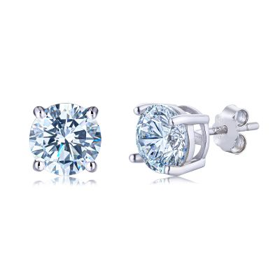 Sterling Silver Simple Four Prong Round Cut Stud Earrings