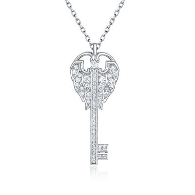 Delicate Angel Wings Key Design Round Cut Sterling Silver Necklace