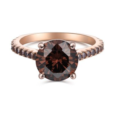 Sterling Silver Classic Round Cut Chocolate Engagement Ring