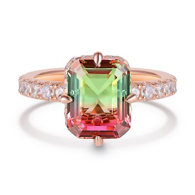 Sterling Silver Exquisite Halo Design Emerald With Round Cut Watermelon Engagement Ring