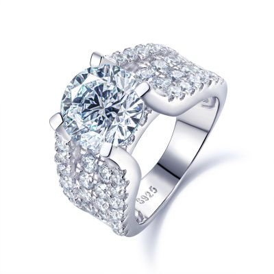 Sterling Silver Classic Round Cut Engagement Ring