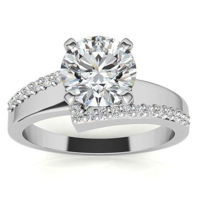 Sterling Silver Delicate Round Cut Engagement Ring