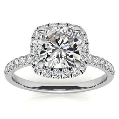 Sterling Silver Classic Halo Cushion With Round Cut Engagement Ring