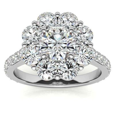 Exquisite Flower Halo Design Round Cut Sterling Silver Ring