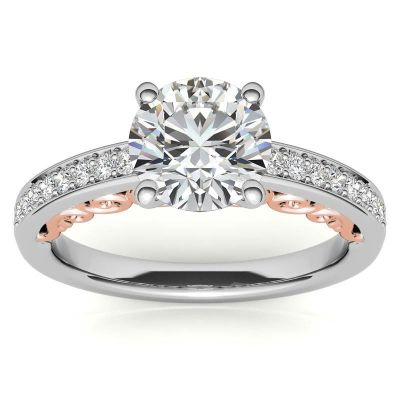 Sterling Silver Elegant Two Tone Twist Round Cut Engagement Ring