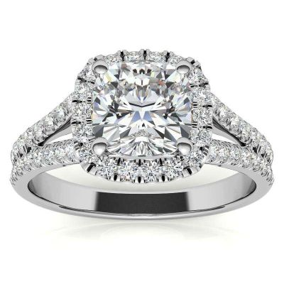 Sterling Silver Classic Split Shank Halo Cushion Cut Engagement Ring
