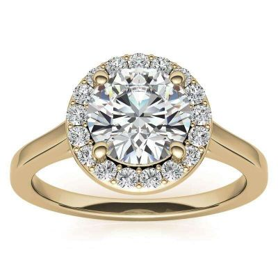 Sterling Silver Halo Round Cut Engagement Ring