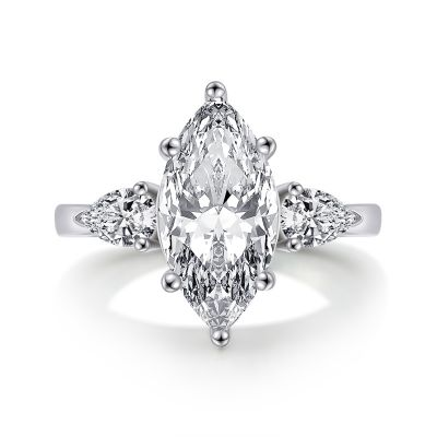 Sterling Silver Three Stone Marquise Cut Engagement Ring