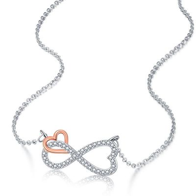 Sterling Silver Two Tone Infinite Love Round Cut Necklace