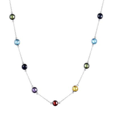 Sterling Silver Elegant Multi Color Round Cut Necklace