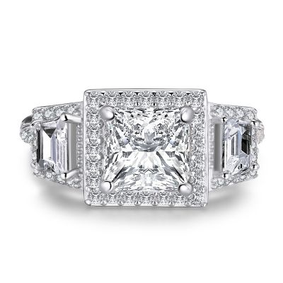 Sterling Silver Three Stone Halo Princess Cut Engagement Ring