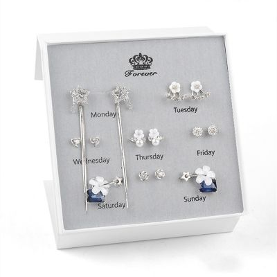 Sterling Silver Delicate Monday To Sunday Daily Earrings Set