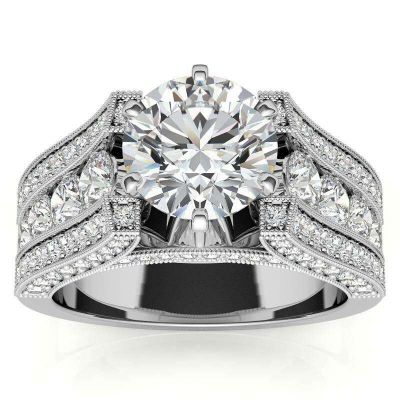 Sterling Silver Classic Three Row Round Cut Engagement Ring