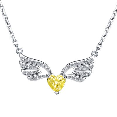 Sterling Silver Delicate Angel Wings Inspired Heart Cut Necklace