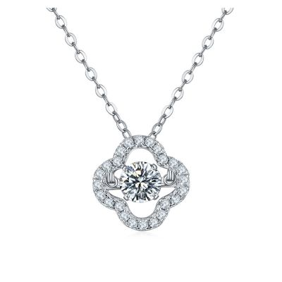 Sterling Silver Delicate Flower Design Halo Round Cut Necklace