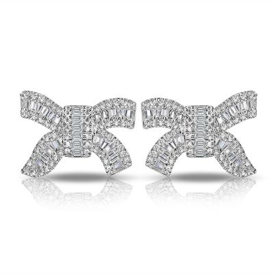 Sterling Silver Classic Bowknot Inspired Baguette And Round Cut Stud Earrings