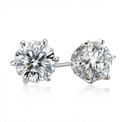 Sterling Silver Classic Six Prong Round Cut Stud Earrings