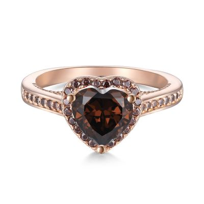 Sterling Silver Exquisite Halo Round With Heart Cut Chocolate Engagement Ring