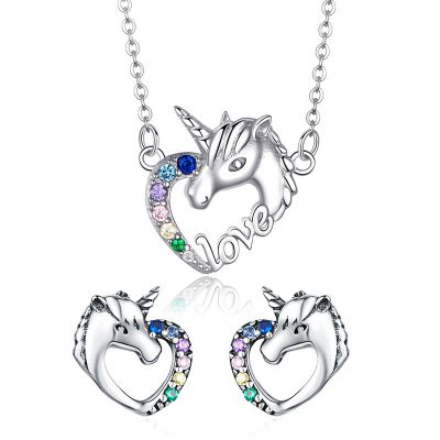 Sterling Silver Cute Horse Inspired Love Round Cut Jewelry Set