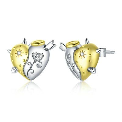 Sterling Silver Classic Heart Shape Design Two Tone Round Cut Stud Earrings