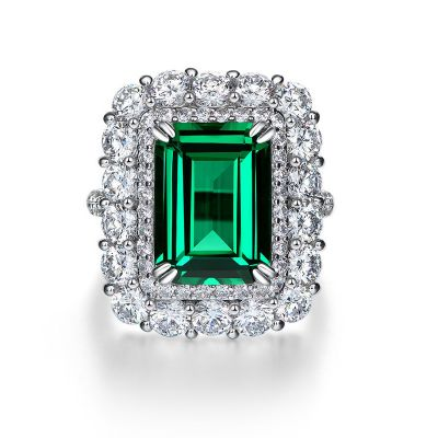Sterling Silver Exquisite Double Halo Emerald With Round Cut Engagement Ring