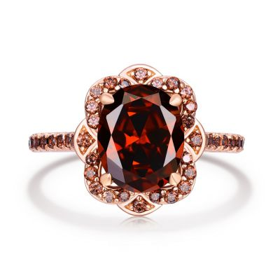 Sterling Silver Delicate Vintage Halo Design Oval Cut Chocolate Engagement Ring