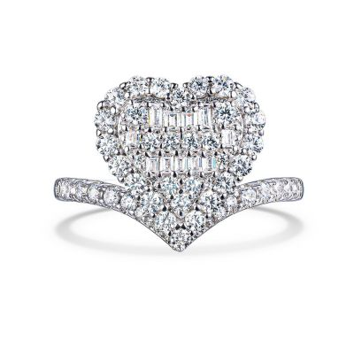 Sterling Silver Delicate Heart Shape Halo Round With Baguette Cut Engagement Ring
