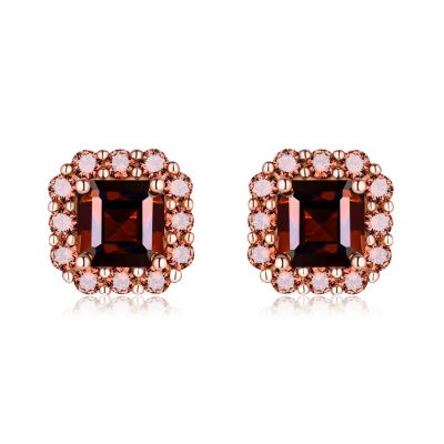 Sterling Silver Delicate Halo Asscher With Round Cut Chocolate Stud Earrings