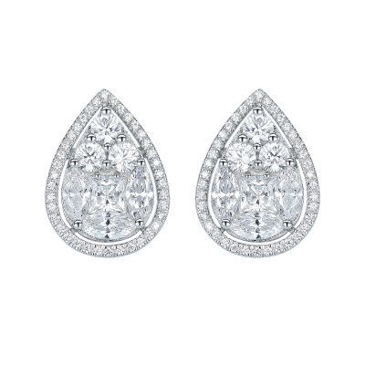 Sterling Silver Exquisite Pear Design Princess Cut Stud Earrings