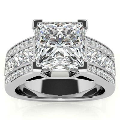 Sterling Silver Three Row Design Princess Cut Engagement Ring