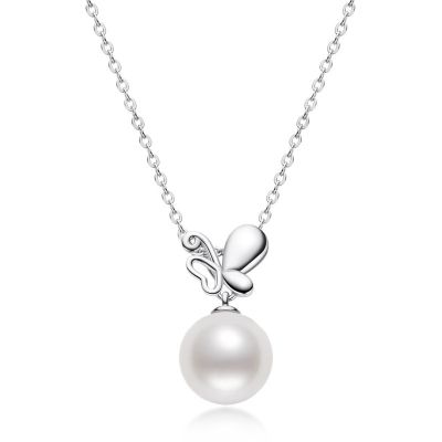 Sterling Silver Classic Butterfly Inspired Pearl Necklace