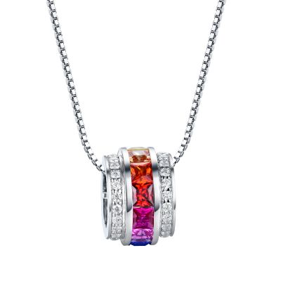 Sterling Silver Multi Color Triple Row Princess With Round Cut Necklace
