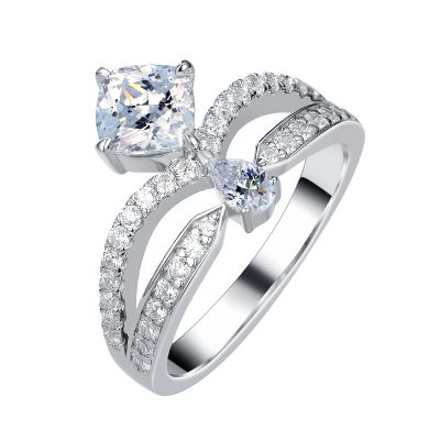 Sterling Silver Split Shank Pear With Cushion Cut Engagement Ring