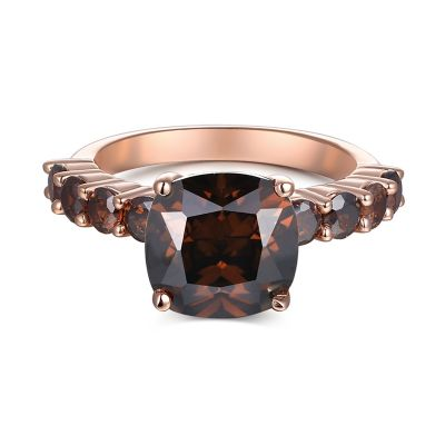Sterling Silver Simple Cushion Cut Chocolate Engagement Ring