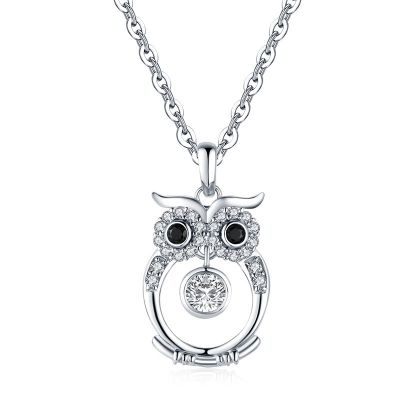 Sterling Silver Classic Owl Inspired Round Cut Necklace