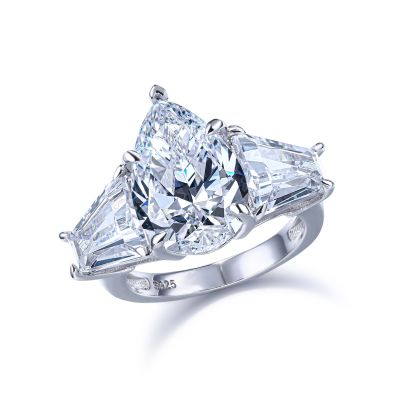 Sterling Silver Classic Three Stone Pear With Tapered Baguette Cut Engagement Ring