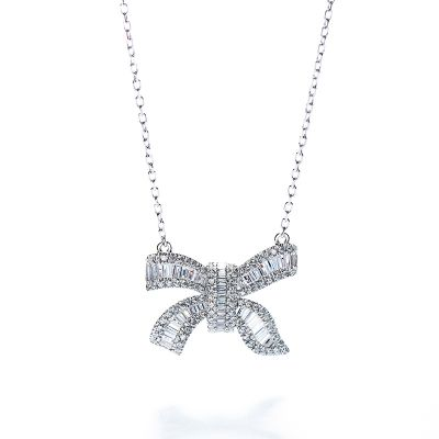 Sterling Silver Unique Bowknot Inspired Baguette With Round Cut Necklace