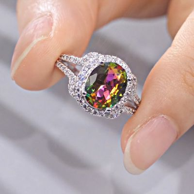 Sterling Silver Split Shank Halo Oval With Round Cut Rainbow Stone Ring