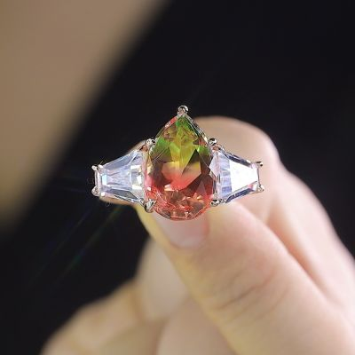 Sterling Silver Elegant Three Stone Pear With Tapered Baguette Cut Watermelon Engagement Ring