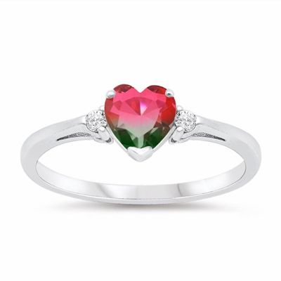 Sterling Silver Three Stone Heart With Round Cut Watermelon Engagement Ring