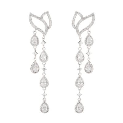 Sterling Silver Luxury Halo Pear With Round Cut Drop Earrings