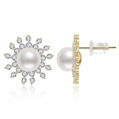 Sterling Silver Floral Double Halo Round Cut Pearl Stud Earrings