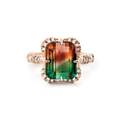 Sterling Silver Delicate Vintage Halo Design Emerald Cut Watermelon Engagement Ring