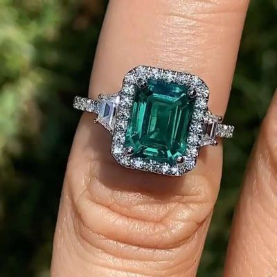 Sterling Silver Delicate Three Stone Halo Emerald Cut Engagement Ring