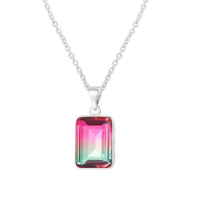 Sterling Silver Simple Design Emerald Cut Watermelon Necklace