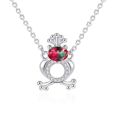 Sterling Silver Gorgeous Oval With Round Cut Watermelon Necklace