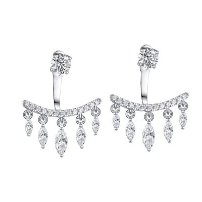 Sterling Silver Classic Round And Marquise Cut Stud Jacket Earrings