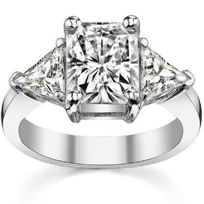 Sterling Silver Classic Radiant With Trillion Cut Engagement Ring