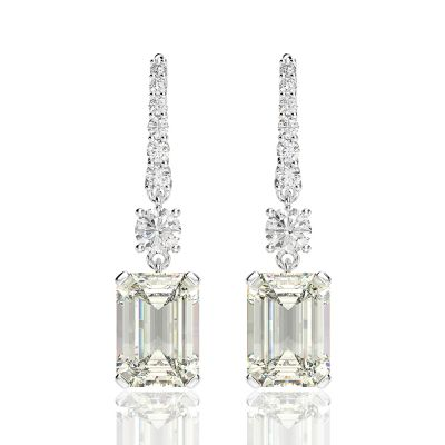 Sterling Silver Elegant Emerald With Round Cut Drop Earrings
