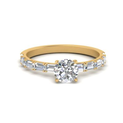 Sterling Silver Classic Round With Baguette Cut Engagement Ring